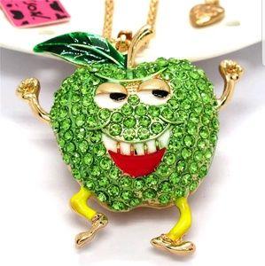 Betsey Johnson Green Crystal Apple PendantNecklace